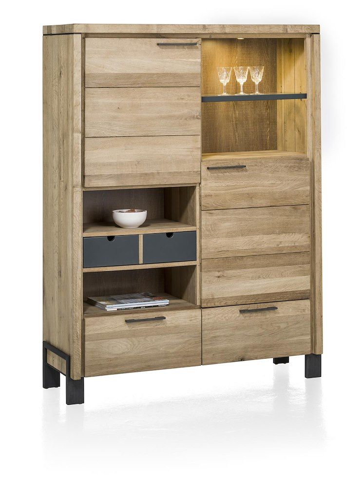 modrava schrank 2 tueren 2 laden 1 korb 4 nischen led 120 cm. Black Bedroom Furniture Sets. Home Design Ideas