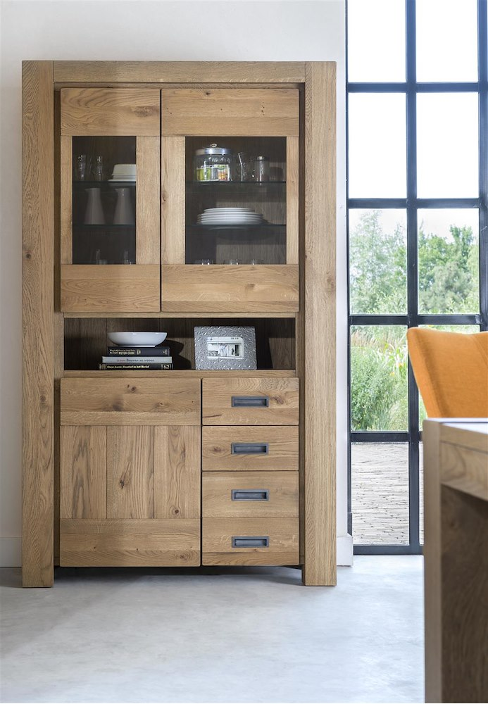 santorini vitrine 2 glastueren 1 tuer 3 laden 1 nische led leiste. Black Bedroom Furniture Sets. Home Design Ideas