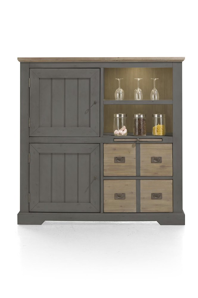 le port highboard mit 2 t ren und led licht henders hazel. Black Bedroom Furniture Sets. Home Design Ideas