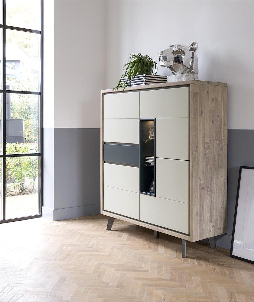 jade highboard 4 tueren 1 lade 3 nischen led. Black Bedroom Furniture Sets. Home Design Ideas