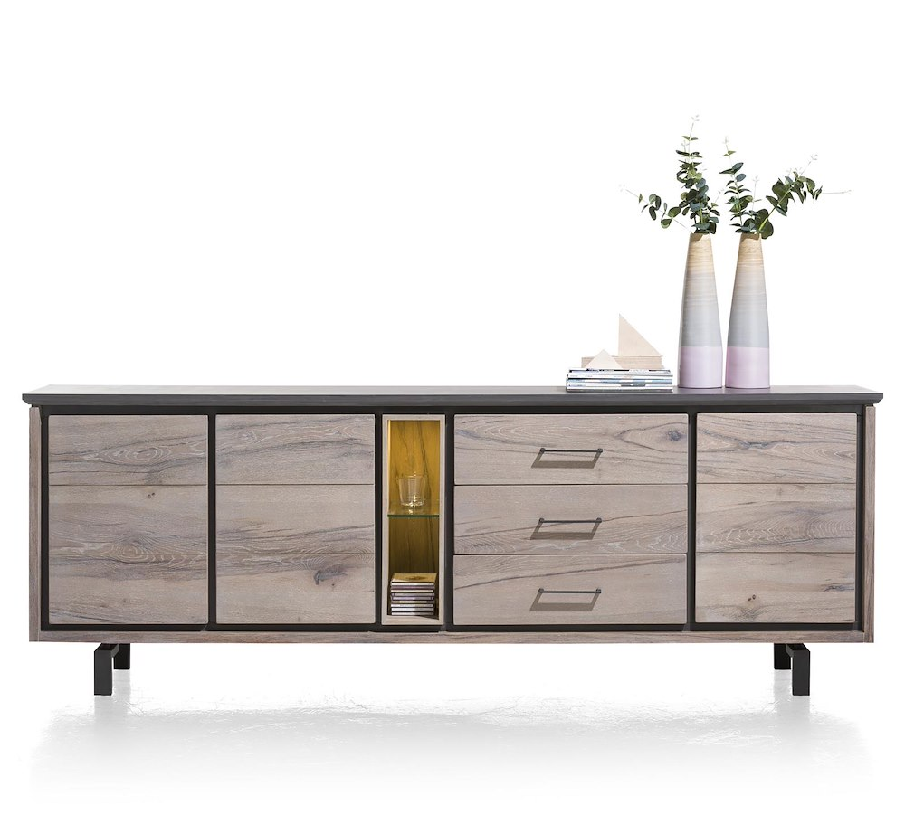 eivissa sideboard 3 t ren 3 laden 2 nischen 240 cm. Black Bedroom Furniture Sets. Home Design Ideas