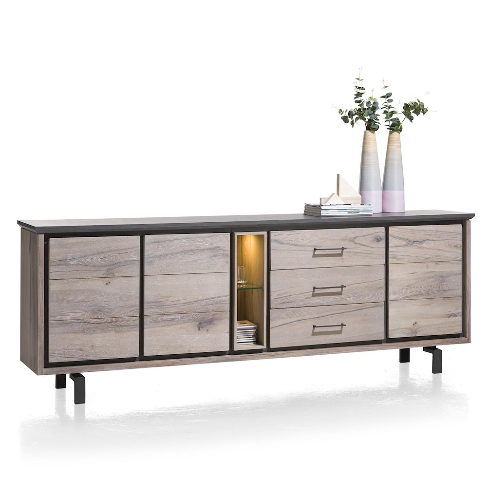 eivissa sideboard 3 t ren 3 laden 2 nischen 240 cm led henders hazel. Black Bedroom Furniture Sets. Home Design Ideas