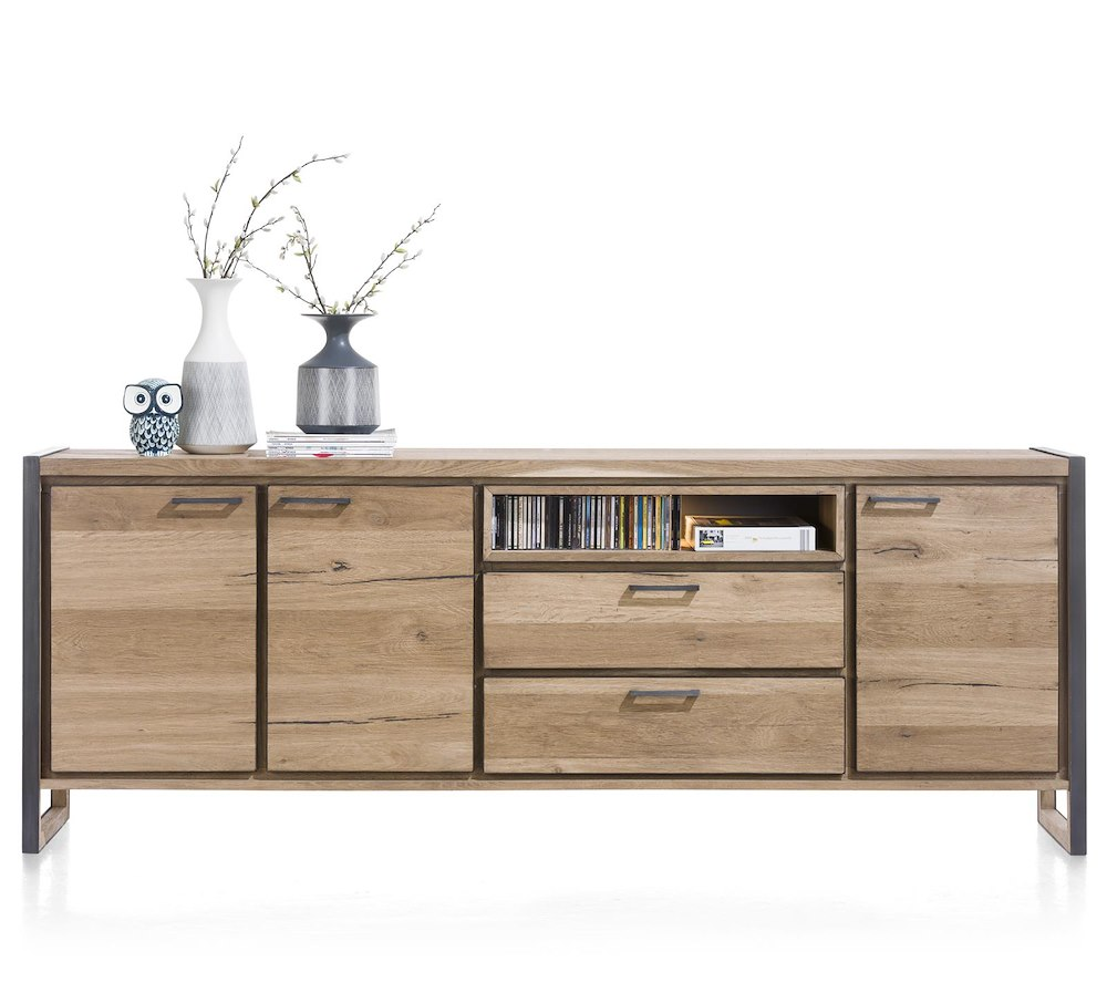 metalo sideboard 3 t ren 2 laden 1 nische 240 cm led henders hazel. Black Bedroom Furniture Sets. Home Design Ideas