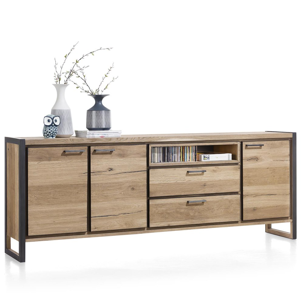 metalo sideboard 3 tueren 2 laden 1 nische 240 cm led. Black Bedroom Furniture Sets. Home Design Ideas