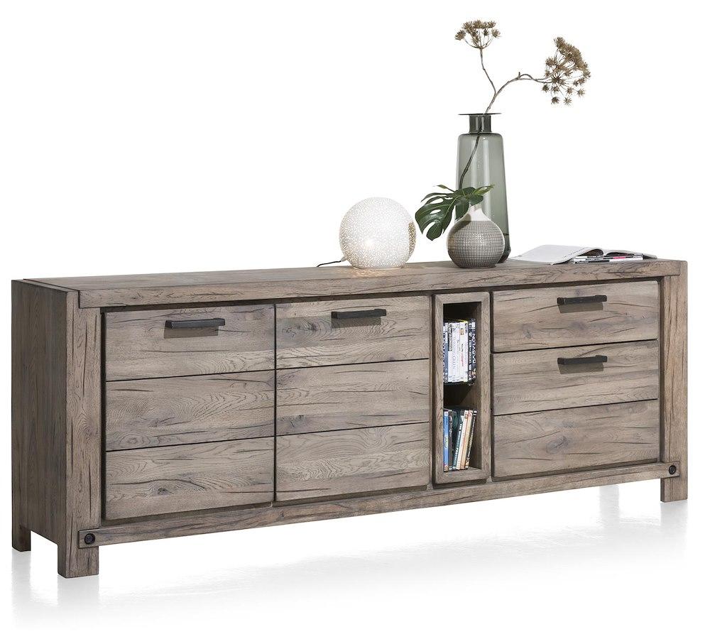maitre sideboard 2 tueren 2 laden 2 nischen 220 cm led spot. Black Bedroom Furniture Sets. Home Design Ideas