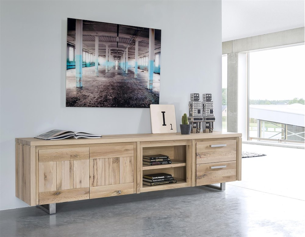 more lowboard 2 tueren 2 nischen 180 cm edelstahl. Black Bedroom Furniture Sets. Home Design Ideas