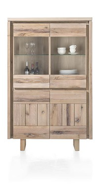 More, Highboard 2-tueren + 2-glastueren 99 Cm - Holz (+ Led)