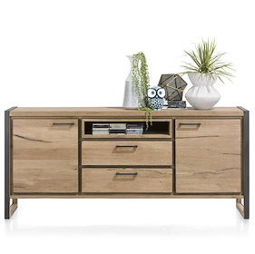 Metalo, Sideboard 2-tueren + 2-laden + 1-nische - 180 Cm (+ Led)