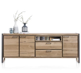 Metalo, Sideboard 3-tueren + 2-laden + 1-nische - 240 Cm (+ Led)