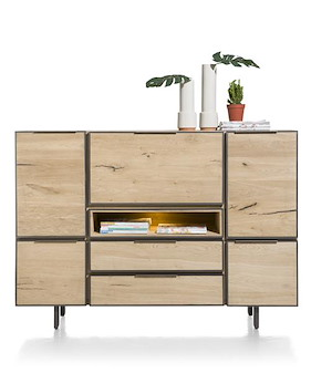 Pedro, Highboard 170 Cm - 4-tueren + 2-laden + 1-klappe + 1-nische (+ Led)