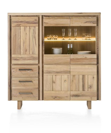 More, Highboard 3-Tueren + 2-Glastueren + 3-Laden 150 cm - Holz (+ Led)-1