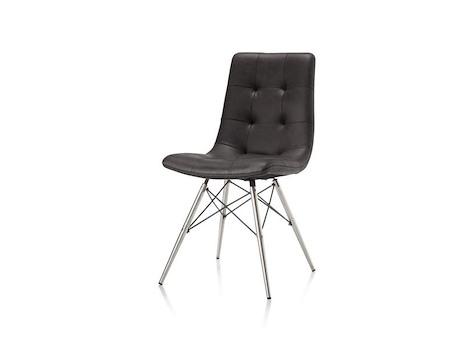 alegra stuhl aus edelstahl mit konischem fu in anthrazit. Black Bedroom Furniture Sets. Home Design Ideas