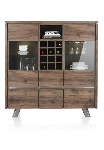 Ermont, Highboard 2-Glastueren + 4-Laden +1-Nische +1-Weinfach-140 cm(+LED)-1