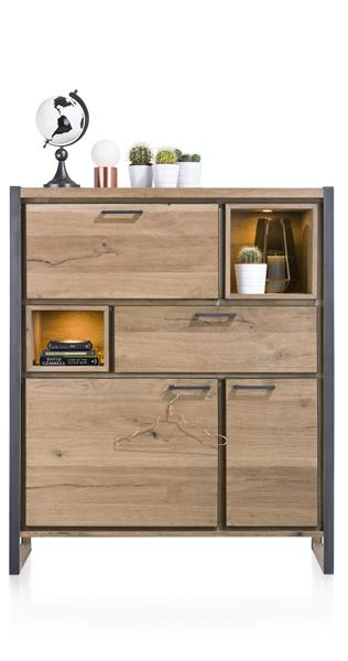 Metalo, Highboard 2-Tueren + 1-Lade + 1-Klappe + 2-Nischen (+ LED)