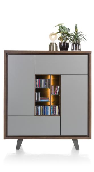 Box, Schrank 2-Tueren + 1-Lade + 1-Klappe + 5-Nischen - 125 cm (+ LED)