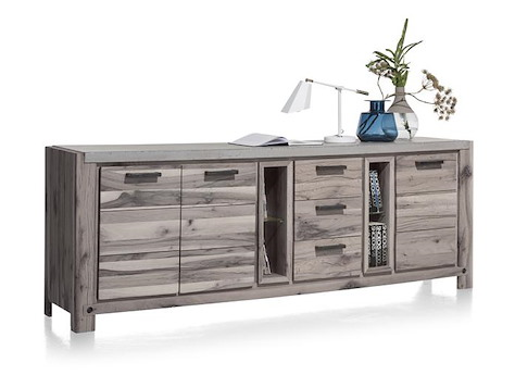 maitre sideboard 240 cm 3 tueren 3 laden 2 nischen led spot. Black Bedroom Furniture Sets. Home Design Ideas