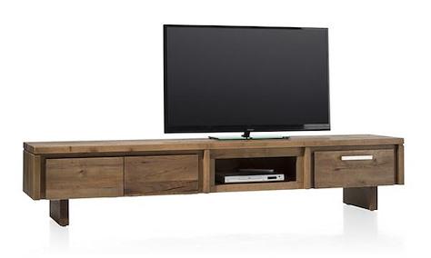 More, TV-Sideboard 220 cm - 2-Klappen + 1-Lade + 1-Nische - Holz
