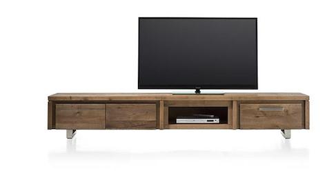More, TV-Sideboard 220 cm - 2-Klappen + 1-Lade + 1-Nische - Edelstahl
