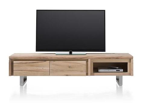 More, TV-Sideboard 2-Klappen + 1-Nische 180 cm - Edelstahl