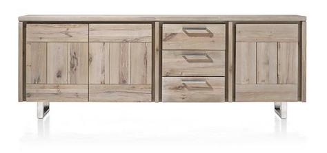 More, Sideboard 240 cm - 3-Tueren + 3-Laden - Edelstahl