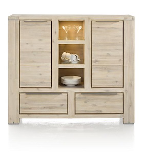 Buckley, Highboard 2-deuren + 2-laden + 3-niches (+ Led)