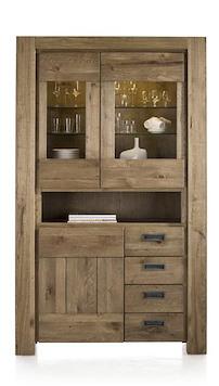 Santorini, Vitrine 2-glasdeuren + 1-deur + 3-laden + 1-niche (+ Led Strip)