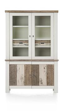 Tibro, Buffet 2-glasdeuren + 2-deuren + 2-laden - 130 Cm