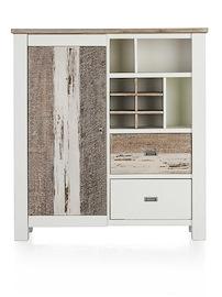 Tibro, Highboard 1-deur + 2-manden + 3-niches + 6-wijnvakken - 130 Cm