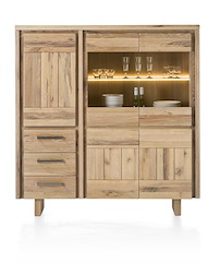 More, Highboard 3-deuren + 2-glasdeuren + 3-laden 150 Cm - Hout (+ Led)