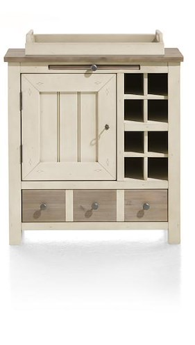 Le Port, Kast 1-deur + 1-lade + 1-dienblad + 8-niches - 79 Cm