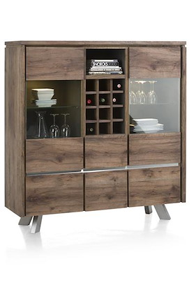 Ermont, Highboard 2-glasdeuren + 4-laden + 1-niche + 1-wijnrek-140 Cm(+led)