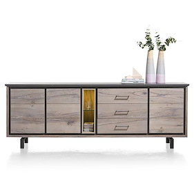 Eivissa, Dressoir 3-deuren + 3-laden + 2-niches - 240 Cm (+ Led Spot)