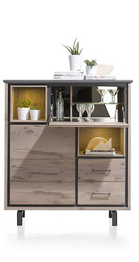 Eivissa, Highboard 1-deur + 2-laden + 1-klep + 2-niches (+ Led Spot)