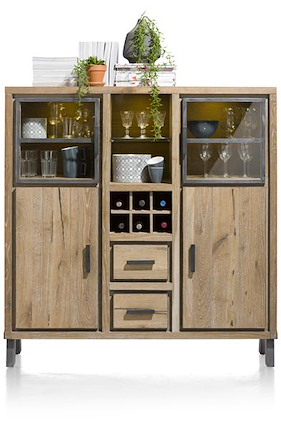 Vitoria, Highboard 2-glasd.+2-deur.+2-lad.+2-niches+ 1-wijnrek-135 Cm(+led)