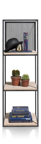 Vincent, Rek 3-niches + 3-legplanken +1 Verplaatsbaar Metalen Paneel-131 Cm