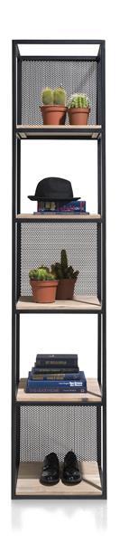Vincent, Rek 5-niches +5-legplanken +3 Verplaatsbare Metalen Panelen-217 Cm