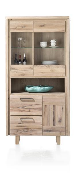 More, vitrinekast 1-deur + 2-glasdeuren + 2-laden - hout