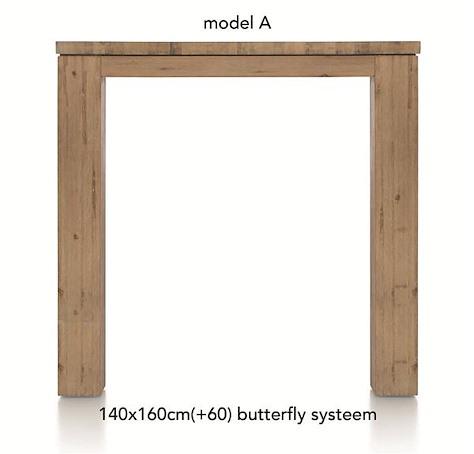 A La Carte, uitschuif-bartafel 160 (+ 60) x 140 cm - AAD-1