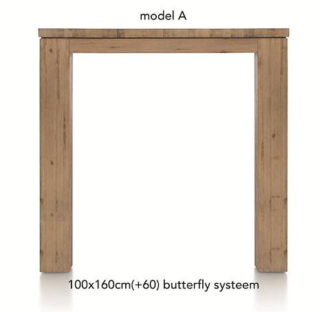 A La Carte, uitschuif-bartafel 160 (+ 60) x 100 cm - AAD-1