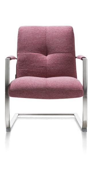 Margrit, fauteuil met frame in rvs of vintage