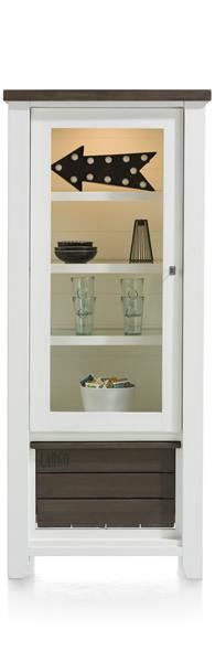 Velasco, vitrine laag 1-glasdeur + 1-box