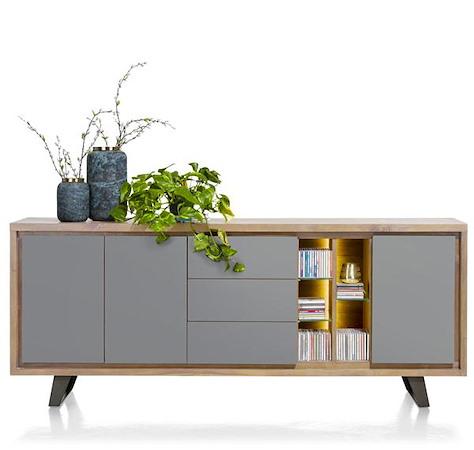 Box, dressoir 3-deuren + 3-Laden + 5-niches - 210 cm (+ LED)