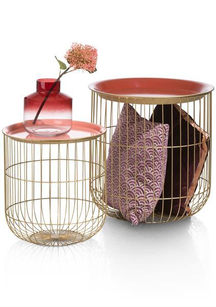 2 bijzettafels Dana - rood & roze