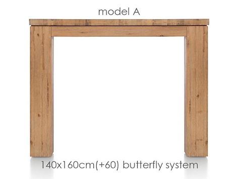 A La Carte, uitschuiftafel 160 (+ 60) x 140 cm - AAD