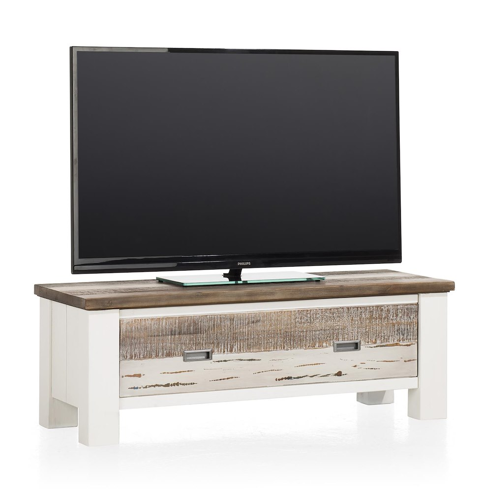 Meuble tv tibro 1 porte rabattante 115 cm heth for Meuble tv porte