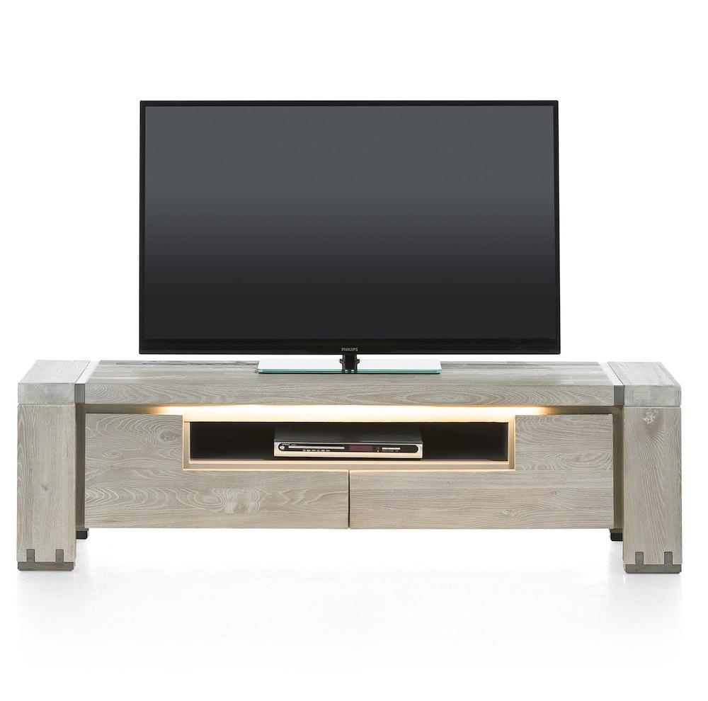 Avola meuble tv 2 portes rabattantes 1 niche 160 cm for Meuble tv niche