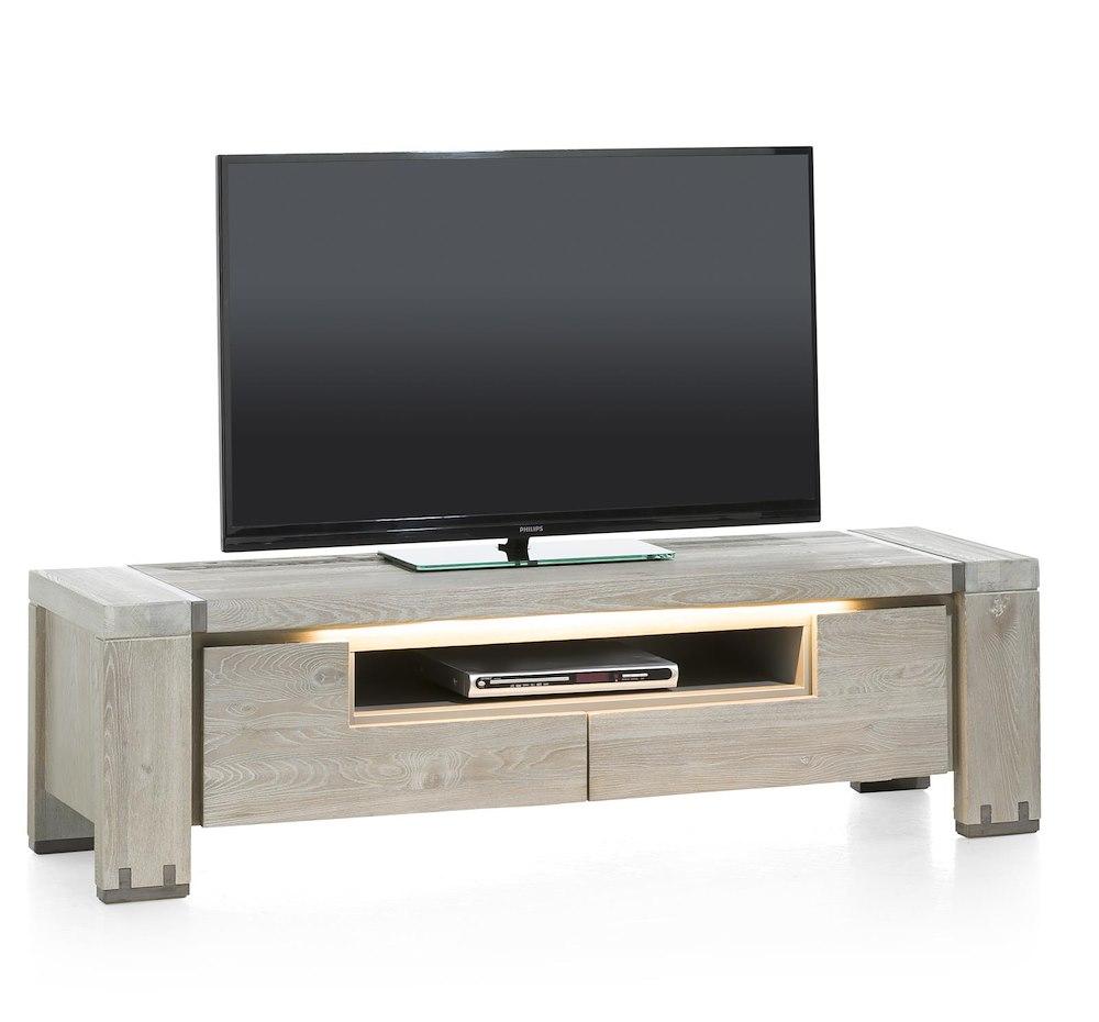 Avola meuble tv 2 portes rabattantes 1 niche 160 cm for Meuble tv 160 cm