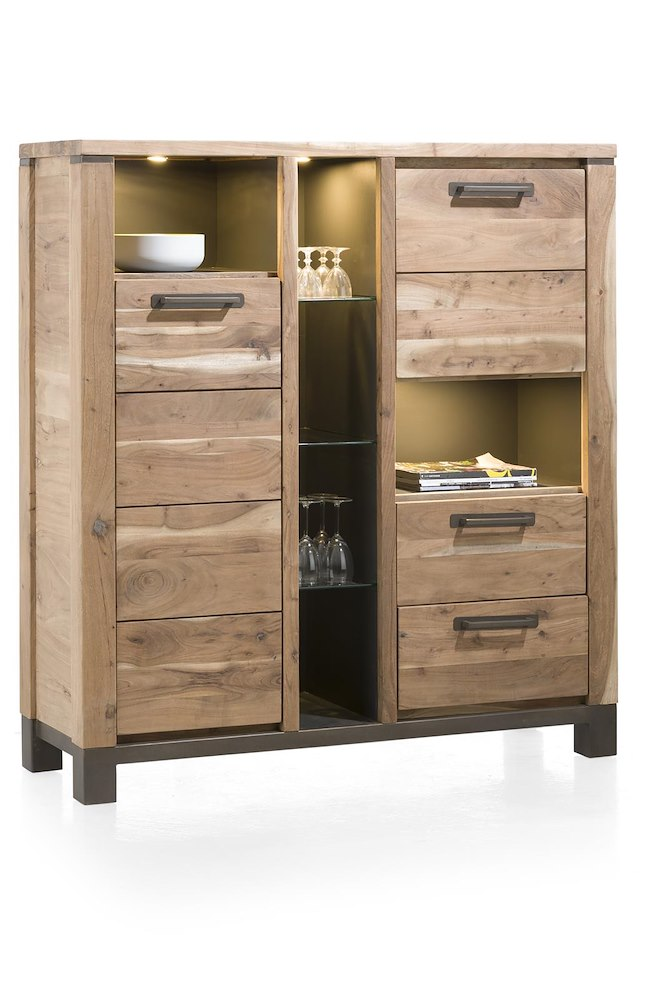 armoire falster 2 portes 2 tiroirs 6 niches 130cm heth. Black Bedroom Furniture Sets. Home Design Ideas