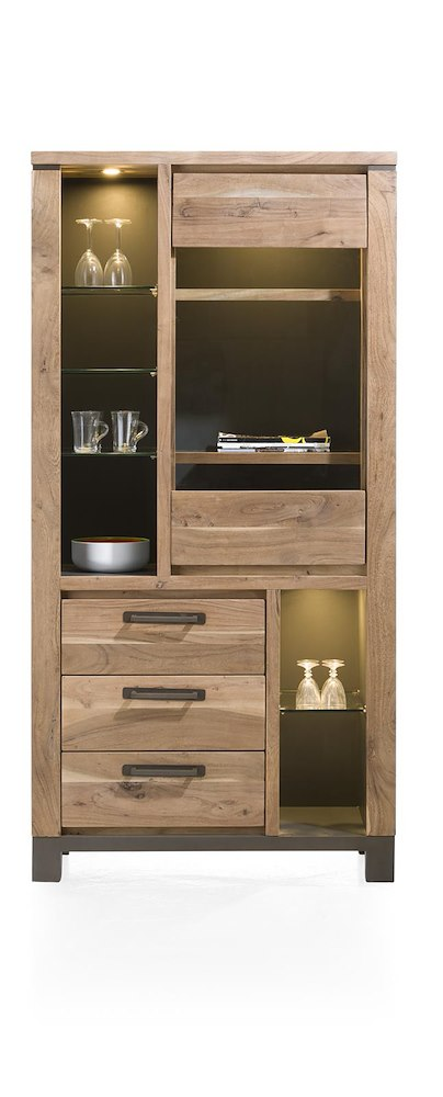 falster vitrine 1 porte en verre 3 tiroirs 6 niches 95 cm led. Black Bedroom Furniture Sets. Home Design Ideas