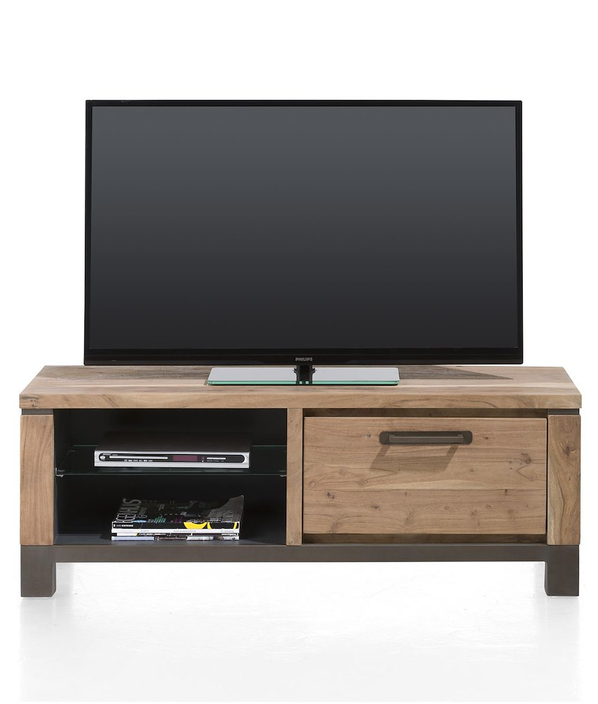 Meuble tv falster 1 porte rabattante 2 niches 130 cm heth for Meuble tv porte